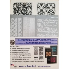 Background Squares GlitterFilm & Art Acetate Black Print Kit