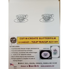 Cut-N-Create GlitterFilm 12 Card Kit Tulip Teacup AS1149