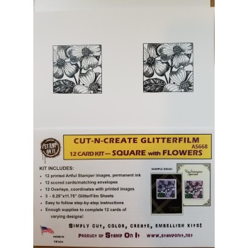 Cut-N-Create GlitterFilm 12 Card Kit Square with Flowers AS668