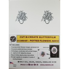 Cut-N-Create GlitterFilm 12 Card Kit Potted Flower AS413