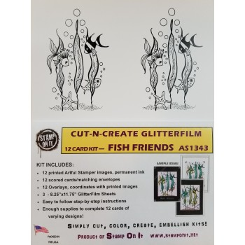 Cut-N-Create GlitterFilm 12 Card Kit Fish Friends AS1343
