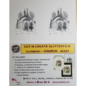 Cut-N-Create GlitterFilm 12 Card Kit Church AS337