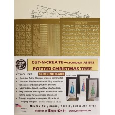 Cut-N-Create 12 Card Kit Slimline Potted Christmas Trees AS1543