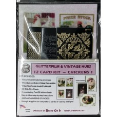 GlitterFilm & Vintage Hues 12 Card Kit Chickens 1