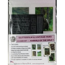GlitterFilm & Vintage Hues 12 Card Kit Animals of the Wild 1