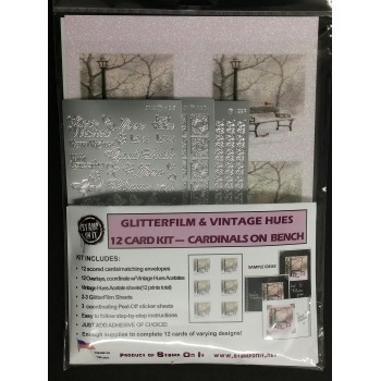 GlitterFilm & Vintage Hues 12 Card Kit Cardinals on Bench