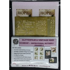 GlitterFilm & Vintage Hues 12 Card Kit Inspirational Butterfly Squares 2