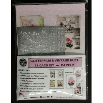 GlitterFilm & Vintage Hues 12 Card Kit Paris 2