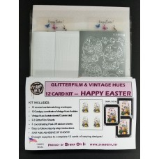 GlitterFilm & Vintage Hues 12 Card Kit Happy Easter