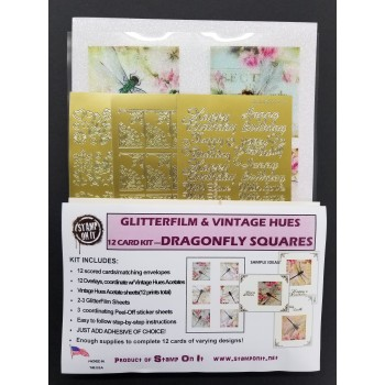 GlitterFilm & Vintage Hues 12 Card Kit Dragonfly Squares