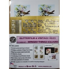 GlitterFilm & Vintage Hues 12 Card Kit Winged Things Squares
