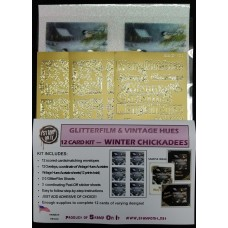 GlitterFilm & Vintage Hues 12 Card Kit Winter Chickadees