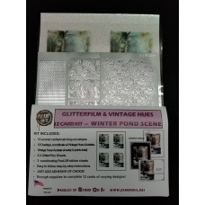 GlitterFilm & Vintage Hues 12 Card Kit Winter Pond Scene