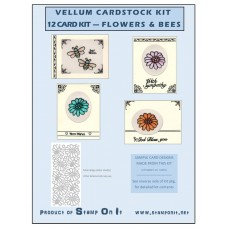 Vellum Cardstock 12 Card Kit Flowers & Bees