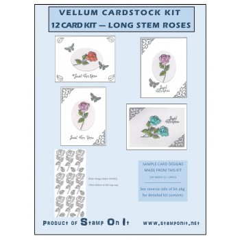 Vellum Cardstock 12 Card Kit Long Stemmed Roses