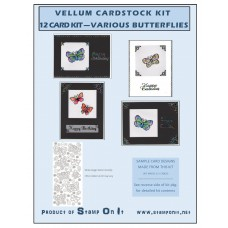 Vellum Cardstock 12 Card Kit Various Butterflies