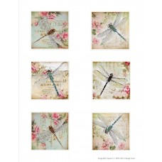 Vintage Hues Vellum, Dragonfly Squares
