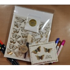 Double Embossed Butterfly Sticker and Moondust  8 Card Kit