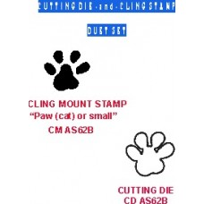 Cat (small) Paw Duet Set (die/cling stamp) DS AS62B