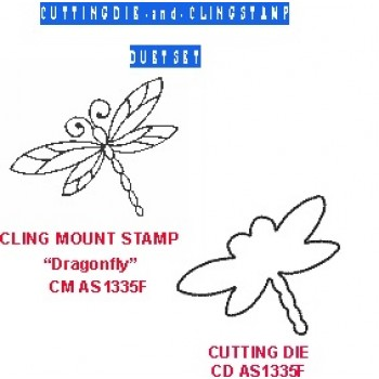 Dragonfly Duet Set (die and coordinating cling stamp