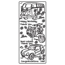 Happy Birthday w/ vehicles Outline Sticker 2122 (LCD001)