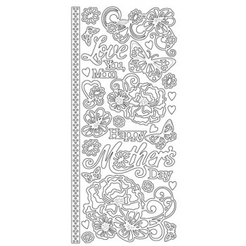 Mother's Day Floral Outline Sticker 3334