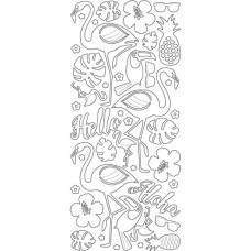 Flamingos Outline Sticker, 4021