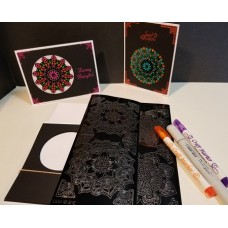 Mandala-Mandalistick Outline Sticker 8 Card Kit