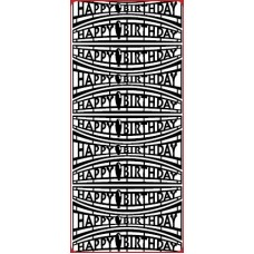 Happy Birthday Banners Outline Sticker DD2410