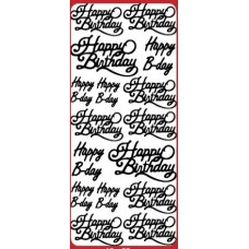 Happy Birthday Cursive Greetings Outline Sticker DD2433