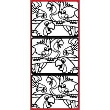 Stained Glass Parrots Outline Sticker DD5314