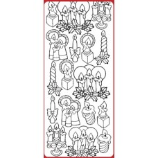 Christmas Candles Outline Sticker DD7011