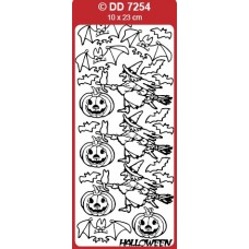 Halloween Witch, Pumpkins, and Bats Outline Sticker