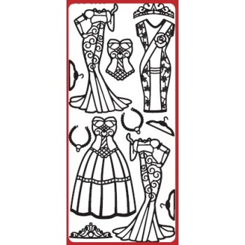 Fashion Dresses 3 Outline Sticker    DD8503