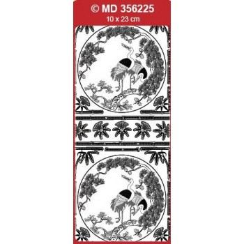Sticker, Double Embossed Chinese Birds