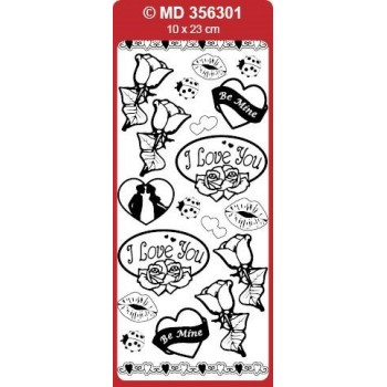 Sticker, Double Embossed Love Roses