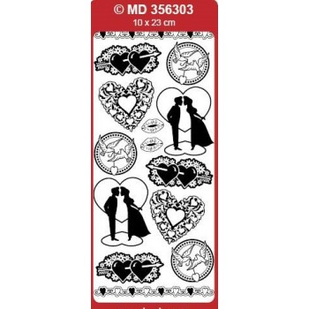 Sticker, Double Embossed Love Silhoettes
