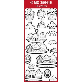 Sticker, Double Embossed 3D Cupcakes