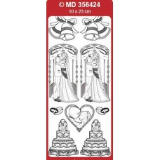 Sticker, Double Embossed Wedding Couple