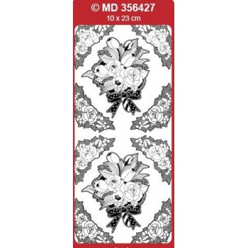 Sticker, Double Embossed Wedding Bouquet