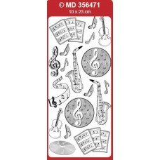 Sticker, Double Embossed Music Saxophone