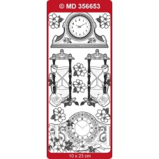 Sticker, Double Embossed Clocks/flowers