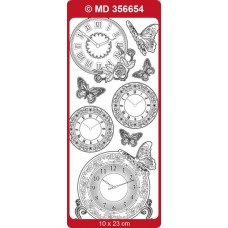 Sticker, Double Embossed Clocks/butterflies