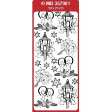 Sticker, Double Embossed Christmas Lantern