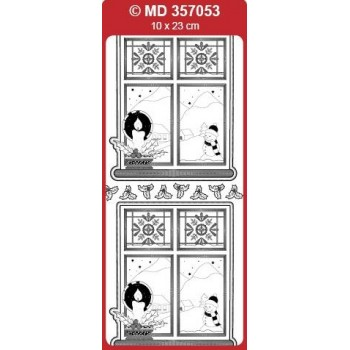 Sticker, Double Embossed Window with Candle
