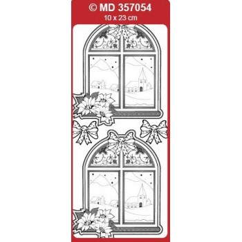 Sticker, Double Embossed Window w/Poinsetta