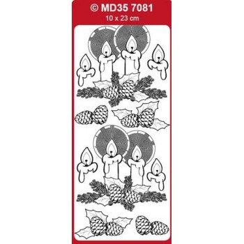 Sticker, Double Embossed Christmas Candles  357081