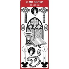 Sticker, Double Embossed Church Window/Religious