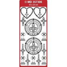 Sticker, Double Embossed Crosses w/Rosary