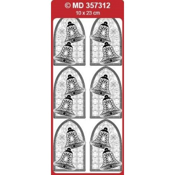 Sticker, Double Embossed Church Window Bells
